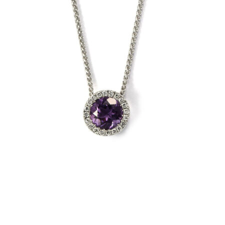 Circle white gold diamond pendant with amethyst centre stone