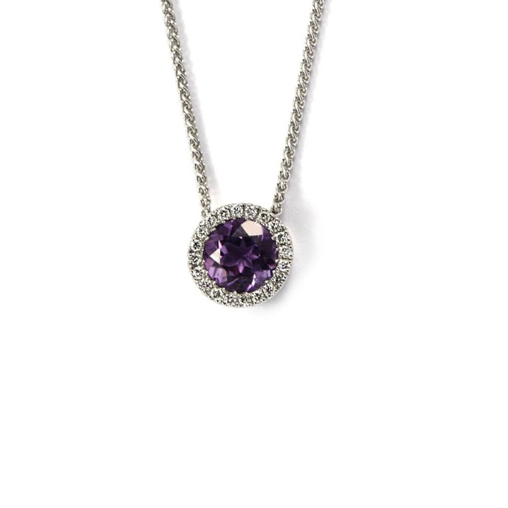 Circle white gold diamond pendant with amethyst centre stone