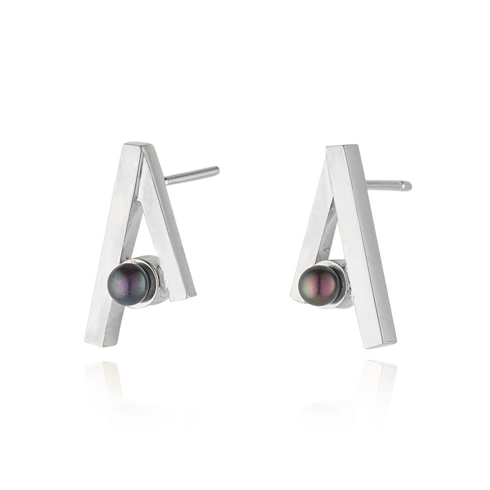 Dark Pearl Stud Earrings