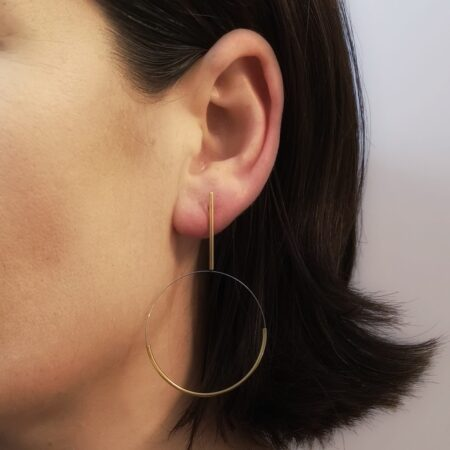 Gold Circle Drop Earrings on Model