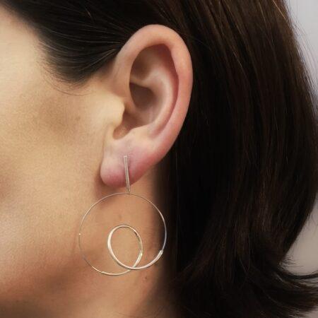Silver Loop Earrings on Model