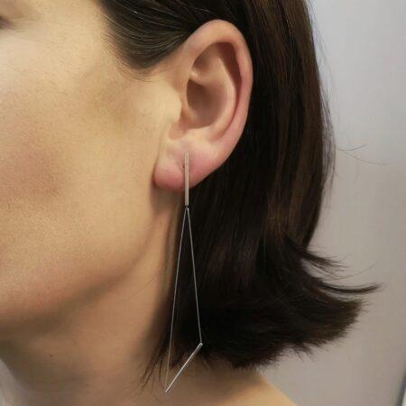 Triangle Drop Earring on Model
