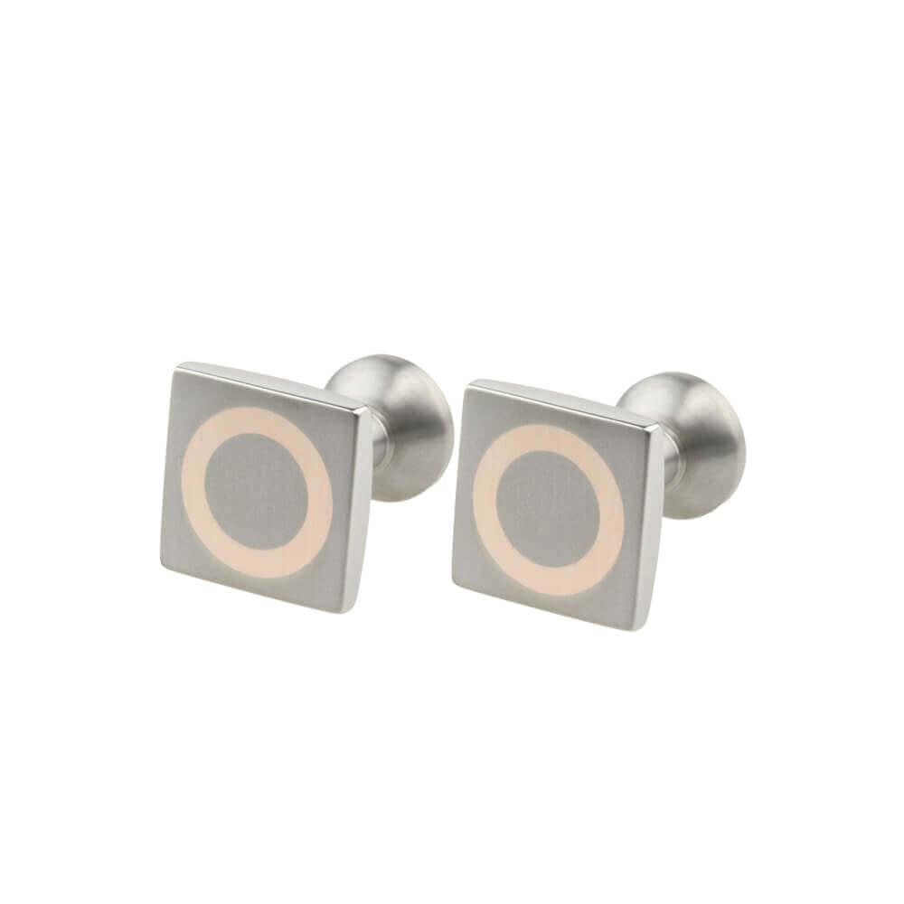 Square Titanium Cufflinks with Rose Gold