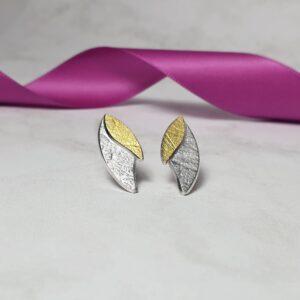 Two-Tone Willow Stud Earrings