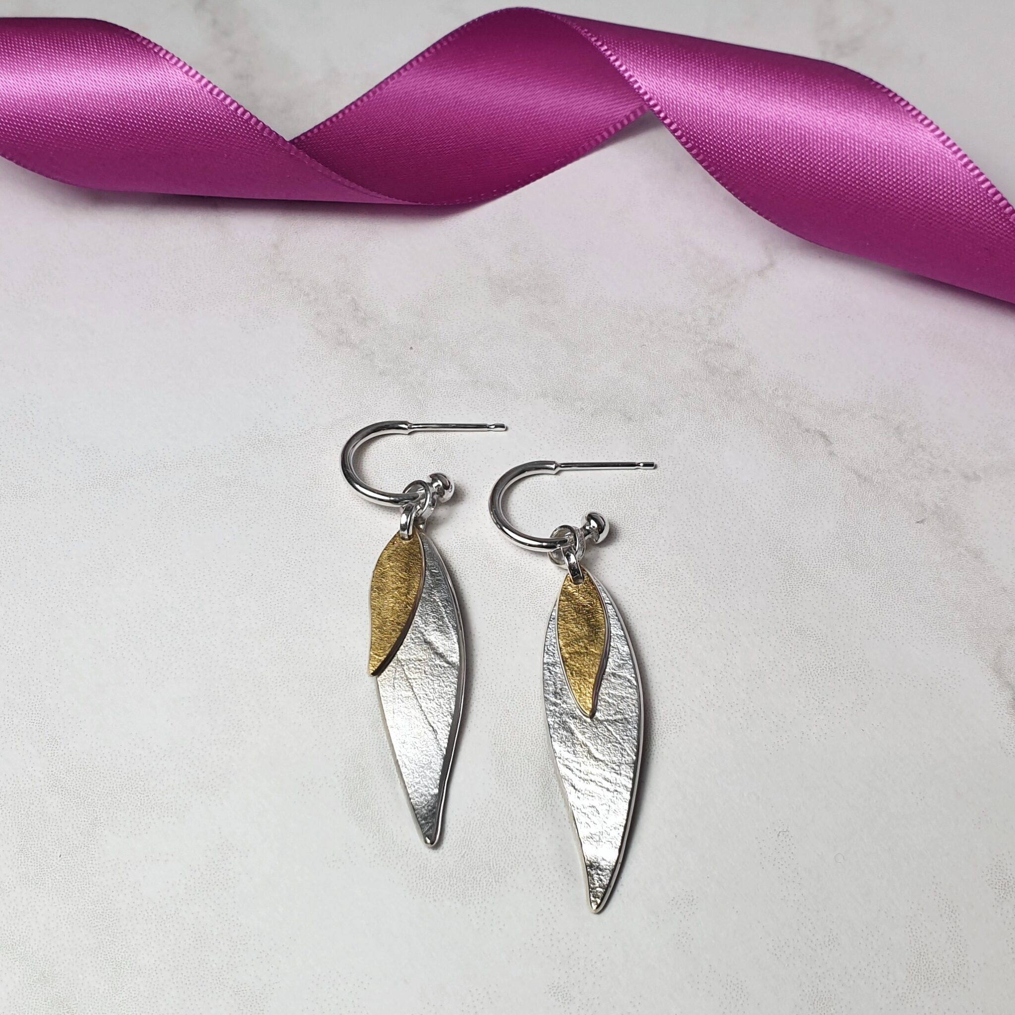 Two-Tone Long Willow Hoop Earrings