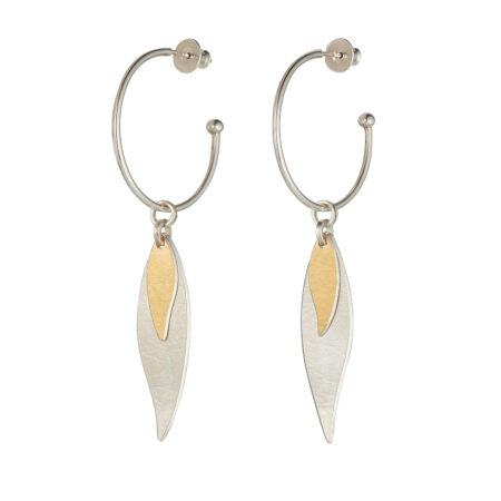 Two-Tone Long Willow Large Hoop Earrings