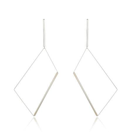 Yoko Silver Rectangle Drop Earrings